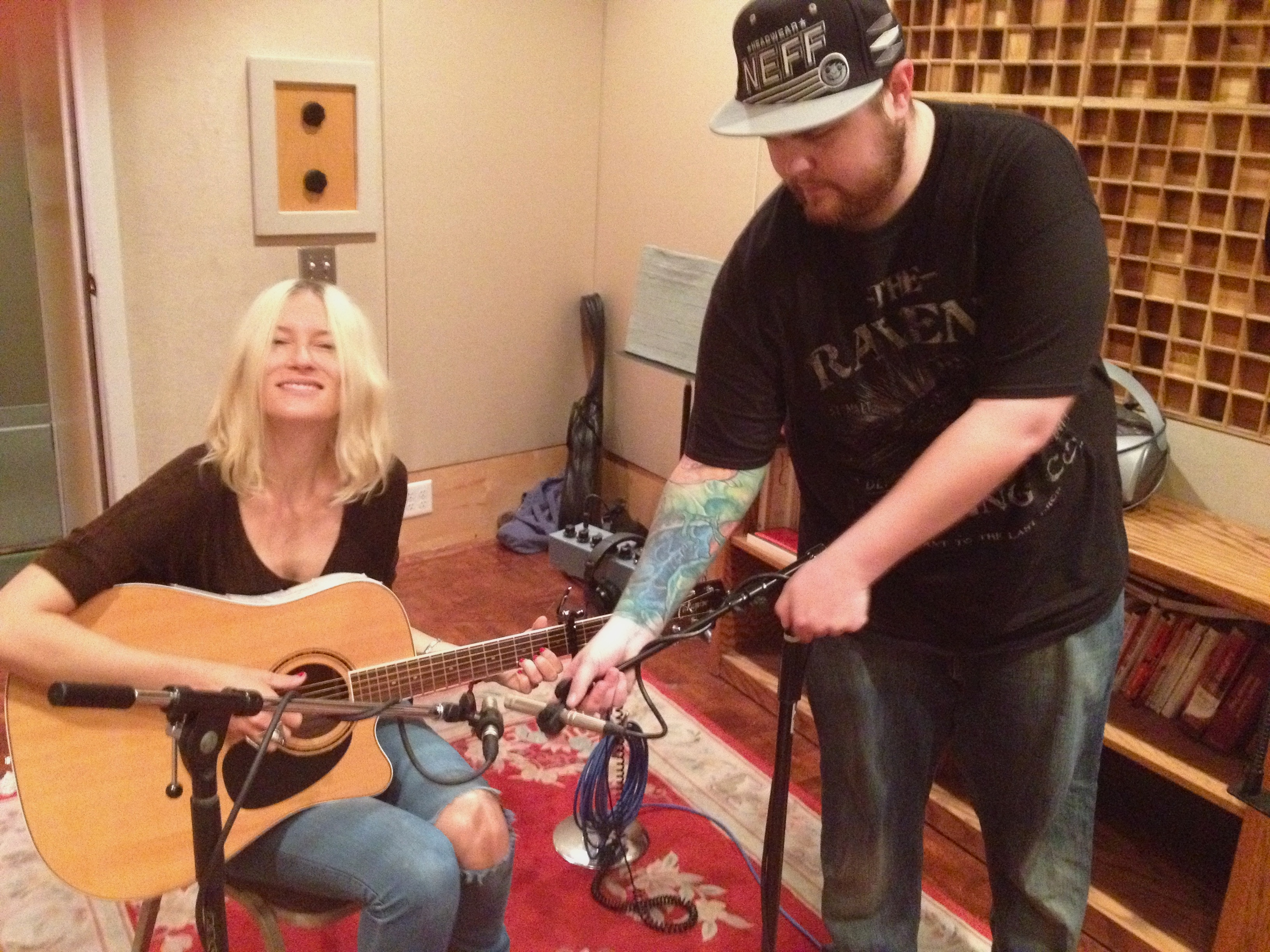 Engineer Kris Hoffman setting up for tracking Artist/Songwriter Molly Jenson for Quirky Pop disc